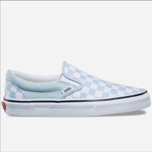 a610ca1218cc Vans Shoes - NEW Vans Checkerboard Baby Blue Slip Ons